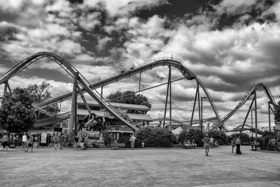 black and white of rollar coaster at Dorney Park, all hills and valleys