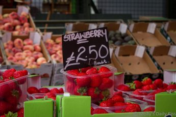 Strawberries punnets at the market in Borough market