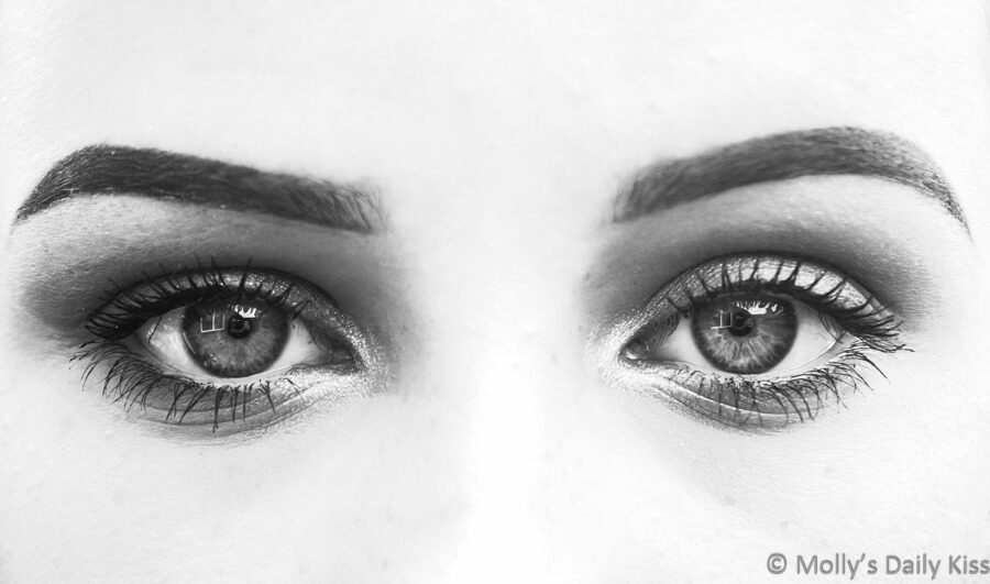 studying eyes in black and white