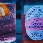 Rose lemonade in glass
