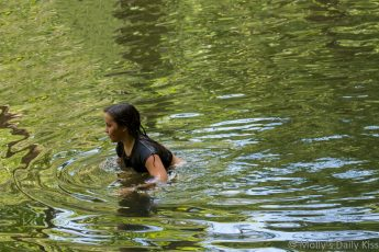 young girl swimming in river at St Peters village PA