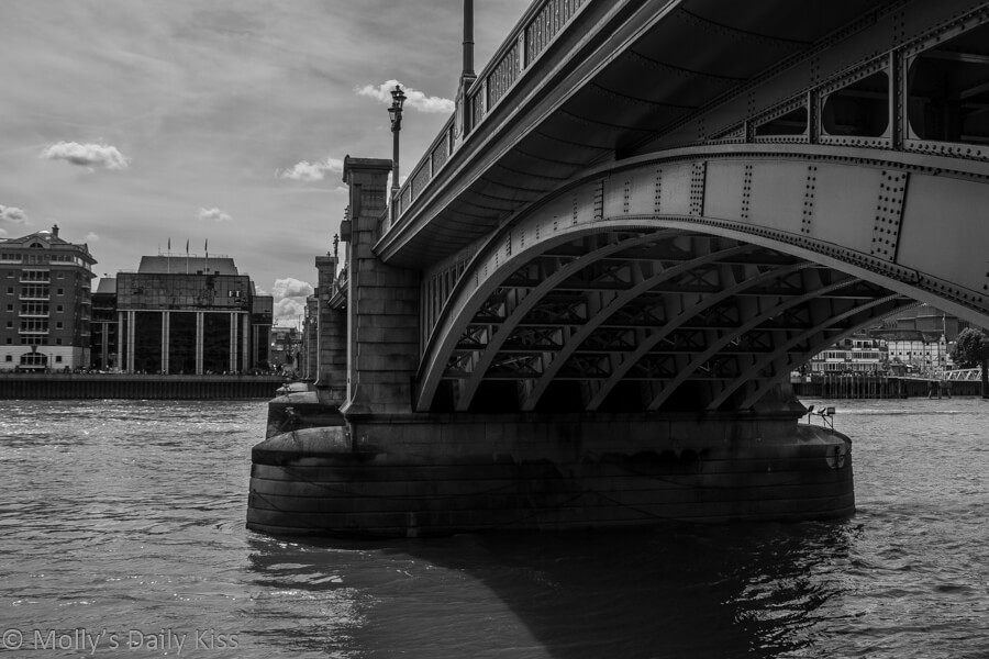 black and white picture of London Bridge from Embankment