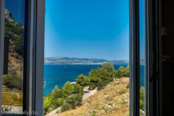 View from kitchen window at Aggelatos villa Kefalonia
