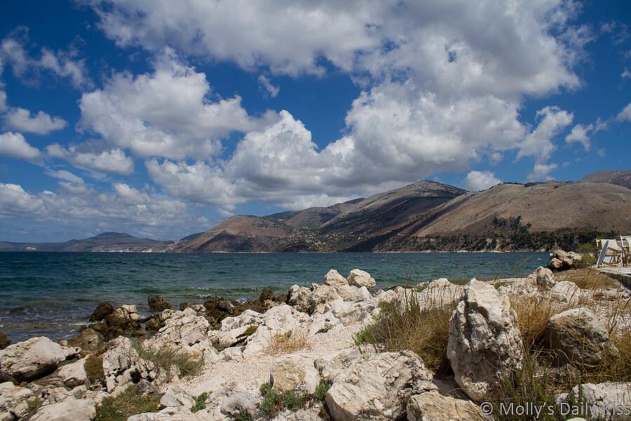 view from water wheel Argostoli Kefalonia. Infinite