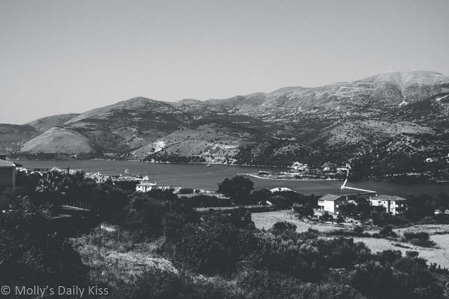 View over the back or argostoli to mountain