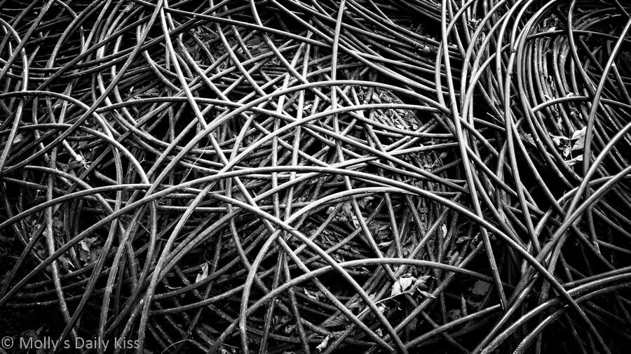 black and white of cables coiled round and round