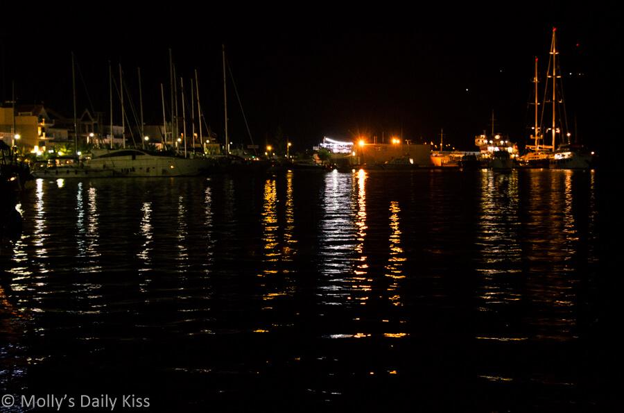 light from boat reflected in Argostoli harbour port kefalonia