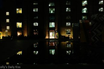 Reflection of lights in Granary Square Kings Cross London