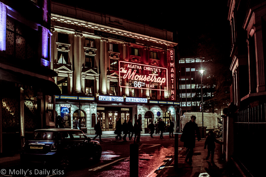 The mousetrap play sign in London at night