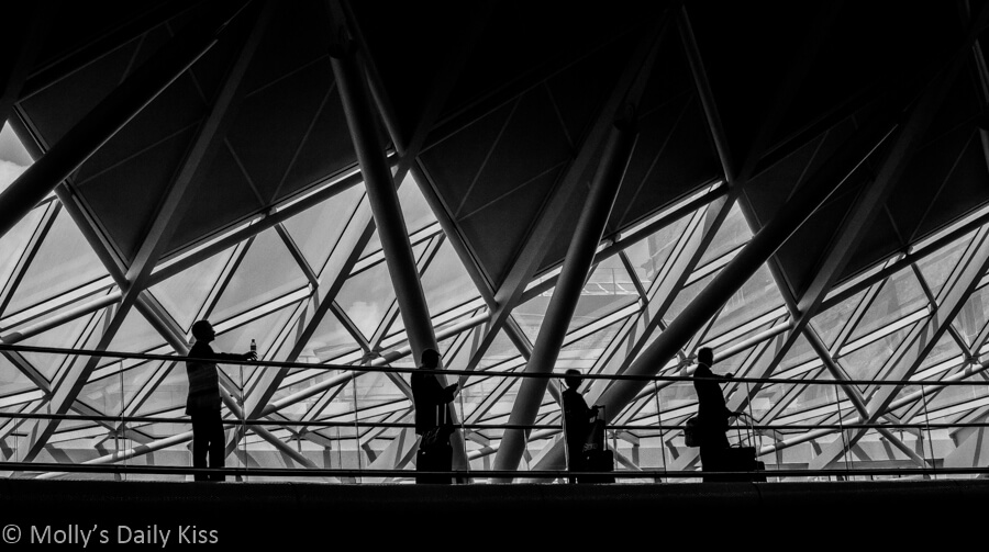 silhouette of 4 people on the walkway at Kings Cross Station
