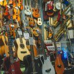 Music instrument shop window in london