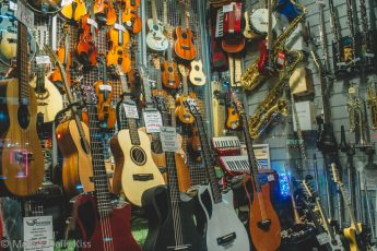 Music instrument shop window in london