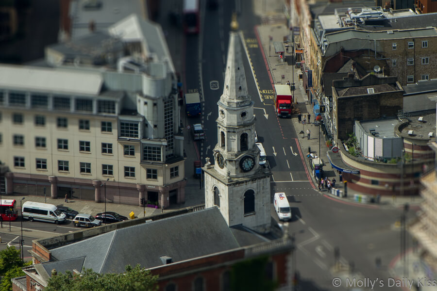 View from the shard of London street editied to look like a mini world of glorious mess