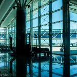 Windows reflected in the floor of Tunisa airport