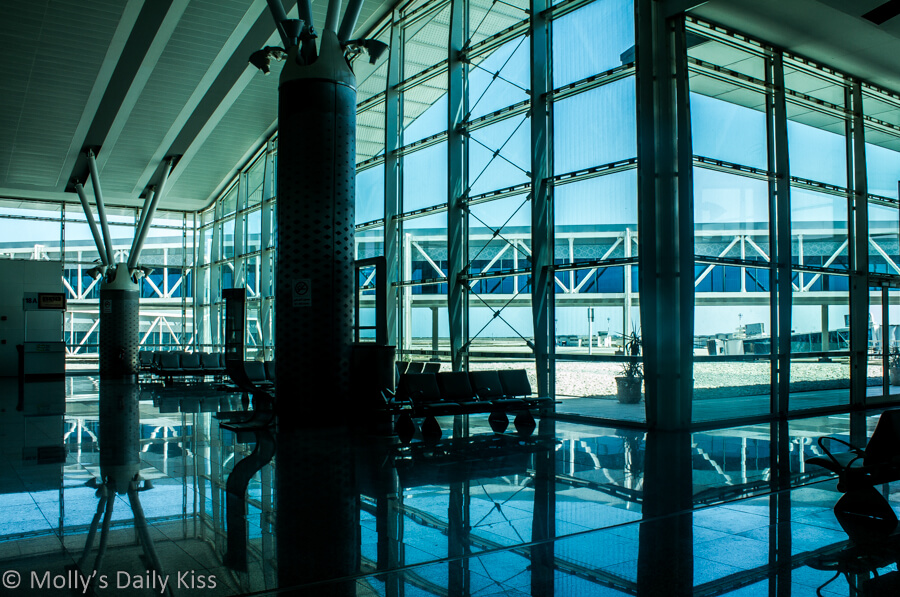 Windows reflected in the floor of Tunisa airport