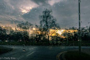 rain droplets on car windscreen
