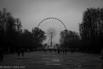 Place du la concord paris man with open purple umbrella reflected in puddles