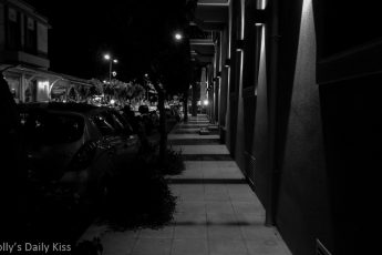 Night time streetDark shadows in Argostoli Kefalonia