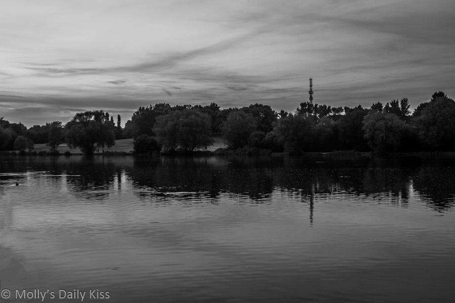 Black and white of view across Stanborough Lakes at sunset is a lovely quiet moment