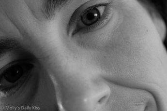 black and white close up of mollys face. A self portrait