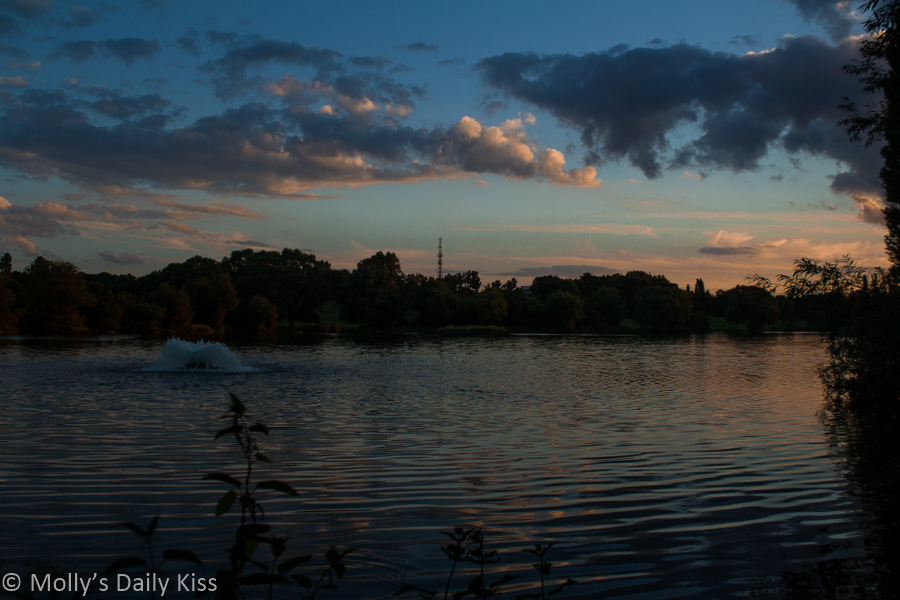 dusk over stanborough lakes hertfordshire