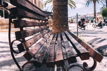 public bench in kefalonia town greece