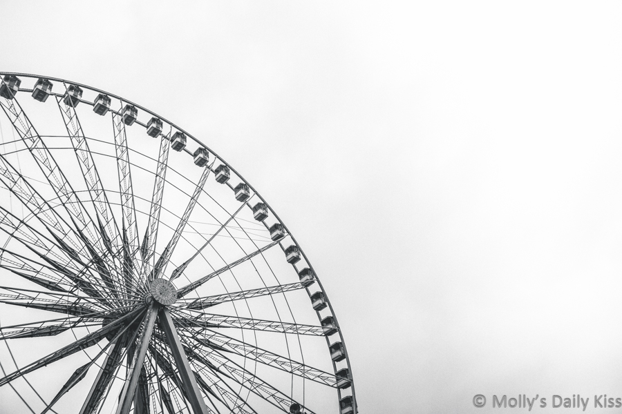 black and white image of ferris wheel in Paris against sky