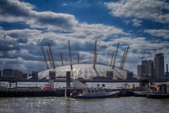 London Dome in sunlight with blue skies and clouds