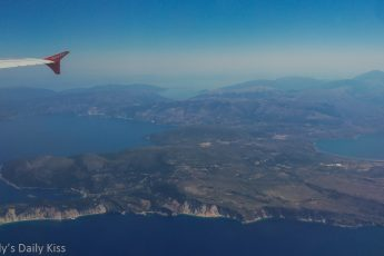 View of Kefalonia from airplane is incredible