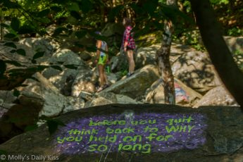 before you quit think back to why you held on for so ling written on large rock