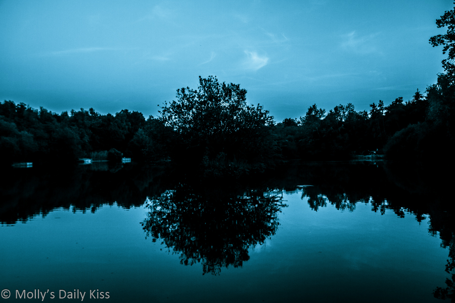 blue toned image of sky and trees reflected in pond