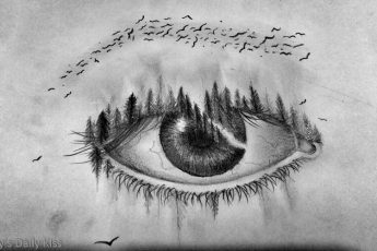 pen ink drawing of eye that has woodland and birds coming out of it