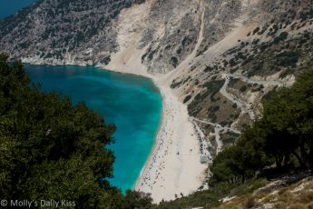 Looking on Mrytos beach Kefalonia is a very remote spot