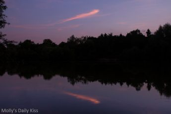 pink cloud reflected in pond at sunset