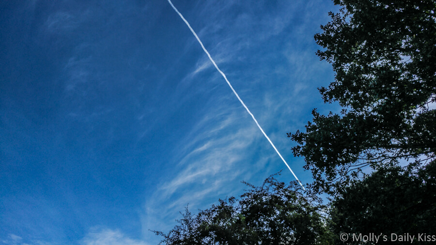 Plane contrails against blue sky