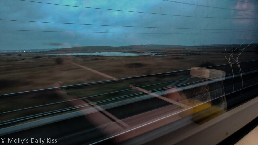 reflection of inside of train in the train window with the landscape dashing past