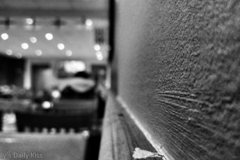 black and white of wall in cafe
