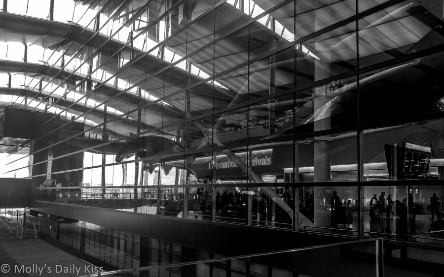 Heathrow Terminal 5 in black and white