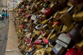 love truly padlocks on fence by the River seine Paris