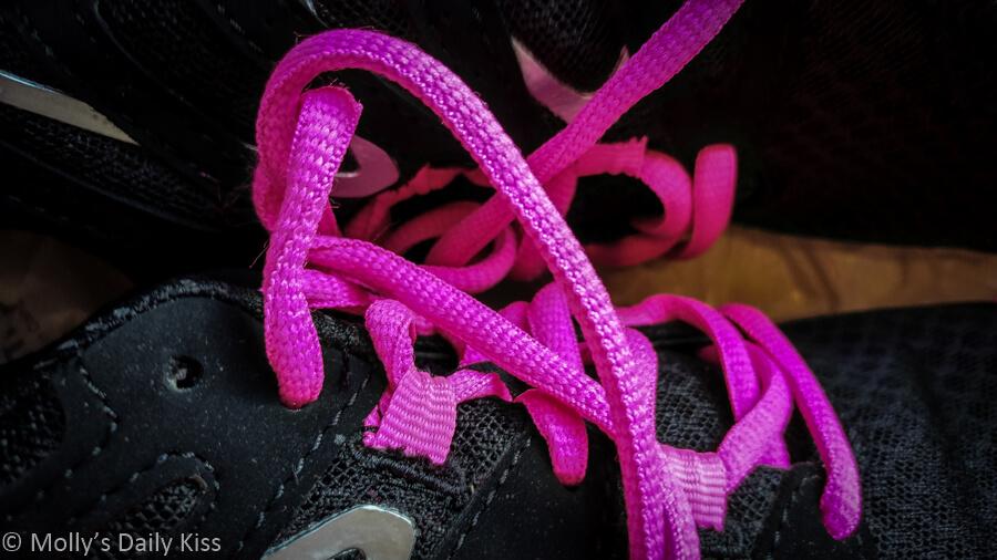 macro shot of pink laces