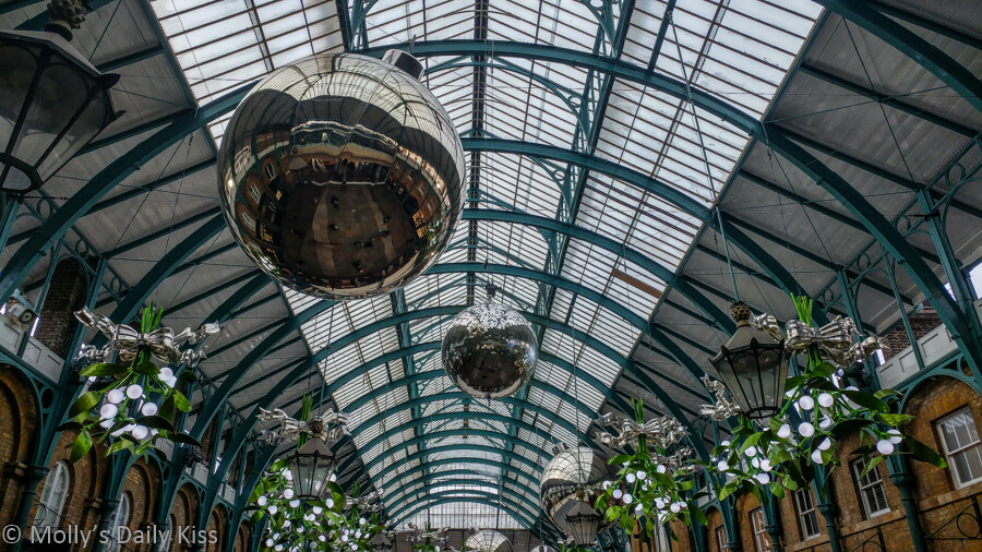 Giant shine balls in covent garden for Christmas