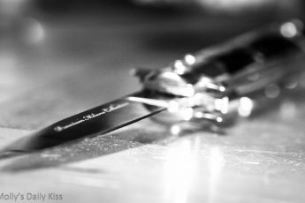 black and white of knife with the blade in focus