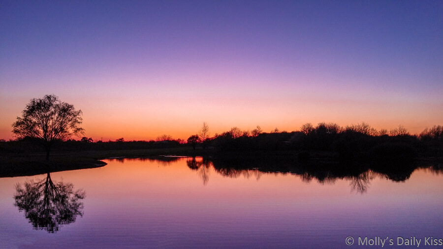 purple and orange sunset over winter pond is an infinite beauty