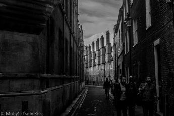 Street in Cambridge UK in black and white