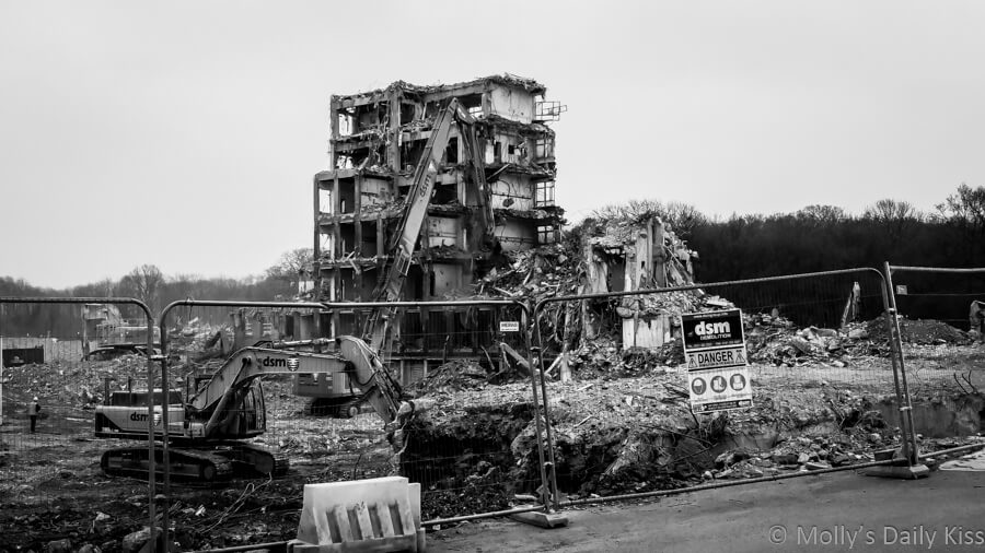 demolition site of the QE11 hospital in Welwyn Garden City