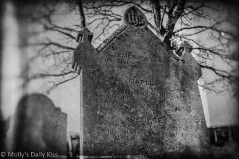black and white wetplate of grave stone death