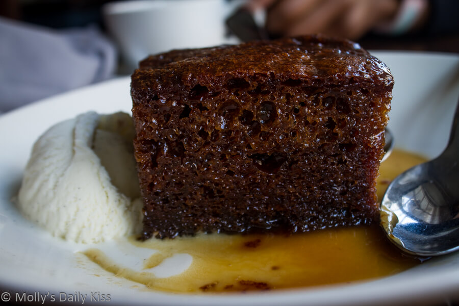 Macro shot of sticky toffee pudding dessert