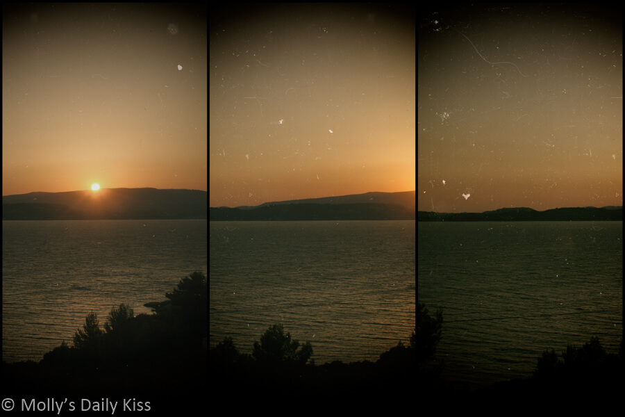 Triptych of sunset over the ocean in Kefalonia