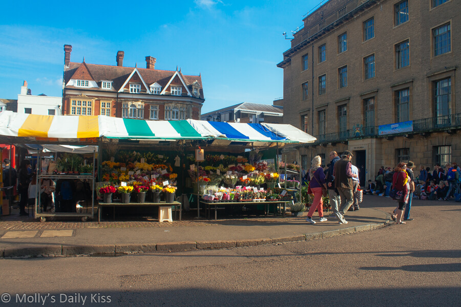 Market stalls in Cambridge