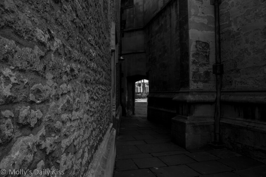 black and white of buildings at Magdelan college Oxford